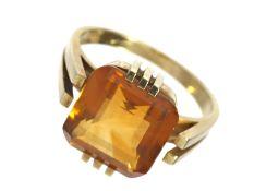 Ring: dekorativer und neuwertiger vintage Goldschmiedering mit schönem Citrin von ca.7ctCa. Ø18mm,