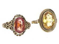 Ring: 2 vintage Goldschmiederinge mit schönen Farbsteinen1. ca. Ø19mm, RG60, ca. 4,8g, 14K Gold,