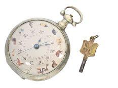 Taschenuhr: seltene Taschenuhr für den chinesischen Markt mit Originalschlüssel, ca.1860Ca. Ø54mm,