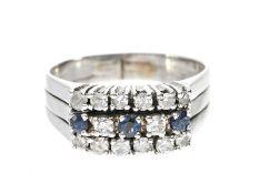 Ring: weißgoldener Damenring mit reichhaltigem Steinbesatz, Saphire und hochwertige DiamantenCa.