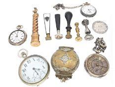Taschenuhr/Petschaft/Orden: Konvolut diverser Antiqitäten, inklusive diverser Taschenuhren,