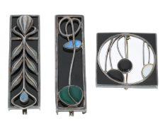 Brosche/Nadel/Anhänger: außergewöhnliche, silberne Designer-Broschen, unterschiedliche Farbsteine,