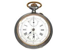 """Taschenuhr: interessanter, seltener Schweizer Chronograph """"Compteur"""" mit seltenem Präzisionskaliber,"""