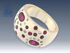 Ring: massiver, ehemals teurer Goldschmiedering mit Rubinen und DiamantenCa. Ø18,5mm, RG58, ca. 19,