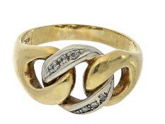Ring: vintage Diamantring, 50er JahreCa. Ø19,5mm, RG61, ca. 7,9g, 18K Gold, Diamantbesatz,