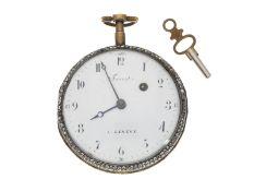 Taschenuhr: ausgesprochen schöne und besonders große Emailleuhr mit Steinbesatz, Philippe Terrot