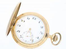 Taschenuhr: feine 14K Gold Savonnette mit Emaillezifferblatt, Schweiz ca. 1915Ca. Ø53mm, ca. 89,
