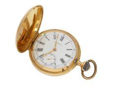 Taschenuhr: sehr seltene Longines Jugendstil Savonnette in 18K Gold, ca. 1890Ca. Ø47mm, ca. 82g, 18K