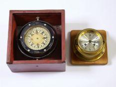 Marinechronometer: Konvolut nautischer Instrumente/Uhren1. Schiffskompass, Holzbox mit originalem