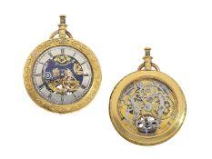 Taschenuhr: einzigartige, beidseitig skelettierte Taschenuhr mit Schlagwerk, ca. 1820 und