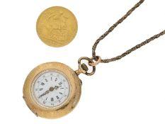 Taschenuhr/Münze: Konvolut AntikschmuckKonvolut aus einer goldenen Damenuhr mit Diamantbesatz, 14K
