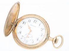 """Taschenuhr: schöne Savonnette der Marke Waltham, goldfilledCa. Ø51mm, vergoldetes Gehäuse gepunzt """""""