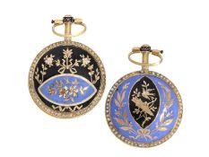 Taschenuhr/Anhängeruhr, dekorative Gold/Emaille Damensavonnette mit chinesischen Motiven und