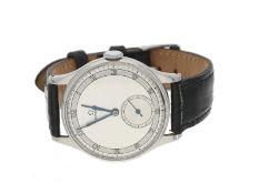 """Armbanduhr: große """"oversize"""" vintage Edelstahl-Herrenarmbanduhr der Marke Omega, Referenz 2181-1,"""