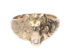 """Ring: außergewöhnlicher Goldschmiede-Herrenring mit Brillant, """"LÖWE""""Ca. Ø19,5mm, RG61, ca. 9,5g, 14K"""