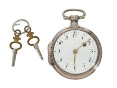 Taschenuhr: Spindeluhr um 1800, vermutlich alpenländischCa. Ø48mm, ca. 78g, Silbergehäuse mit