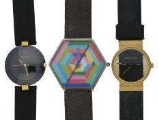 Armbanduhr: Konvolut von drei Damen-Modeuhren/DesignuhrenCa. Ø28,5 - 42mm, Edelstahl, teilweise