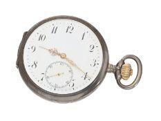 Taschenuhr: silberne Taschenuhr mit hochwertigem IWC Präzisionsankerwerk, ca. 1910Ca. Ø51mm, ca.