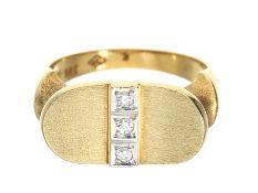 Ring: sehr schöner, neuwertiger Diamant/Designer-Goldschmiedering, Handarbeit in 14K Gold, NP