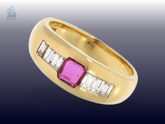 Ring: schöner, ehemals teurer Rubin/Diamant-Goldschmiedering, feiner Markenschmuck, NP ca.1.800€
