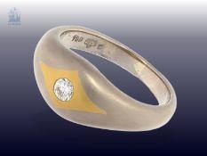 Ring: massiver und neuwertiger Bicolor-Goldschmiedering mit Brillant, NP ca. 980€Ca. Ø17mm, RG53,