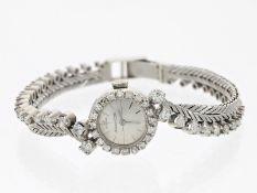 Armbanduhr: feine und sehr hochwertige Vintage Jaeger Le Coultre Damenuhr, 18K Weißgold,