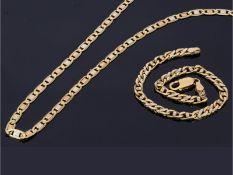 Kette/Armband: fein und hochwertig gefertigte Tricolor-Goldschmiedekette sowie Goldarmband,