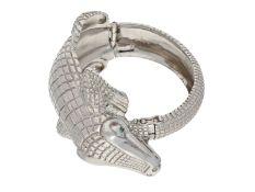 Armreif: außergewöhnlicher Silberarmreif in Krokodil-OptikCa. Ø62mm, ca. 124g, 925er Silber,