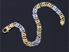 Armband: attraktives Bicolor-Goldarmband, neuwertig, 14K GoldCa. 19cm lang, ca. 7,8g, 14K Gold,