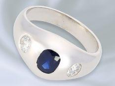 Ring: massiver vintage Bandring mit Saphir-/Brillantbesatz, Brillanten von ca. 0,66ctCa. Ø20mm,