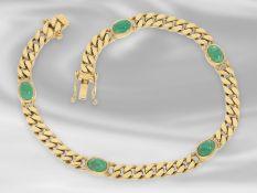 Armband: klassisches, massives vintage Panzerarmband mit Smaragdbesatz, 14K GoldCa. 19cm lang ,