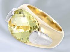 Ring: massiver und schwerer Goldschmiedering mit schönem Lemon-Citrin, Handarbeit aus 14K GoldCa.