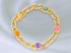 Armband: ausgefallenes, massives vintage Goldschmiedearmband mit unterschiedlichem