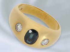 Ring: klassischer vintage Bandring mit Farbstein-/Brillantbesatz, 18K GoldCa. Ø17,5mm, RG55, ca.