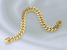 Armband: schweres und hochwertiges Panzerarmband, massive Handarbeit aus 14K GoldCa. 18,5cm lang,