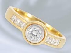 Ring: 18K goldener Brillant/Diamant-Goldschmiedering, 0,59ctCa. Ø17mm, RG54, ca. 5,9g, 18K Gold,