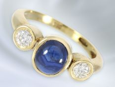 Ring: feiner vintage Damenring mit Saphir/Brillantbesatz, 14K GoldCa. Ø16mm, RG51, ca. 4,3g, 14K