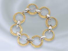 Armband: sehr ausgefallenes und hochwertiges Designer-Goldschmiedearmband, 18K BicolorCa. 20cm lang,