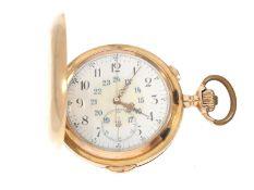 Taschenuhr: besonders große und schwere Goldsavonnette mit Repetition und Chronograph, Marke