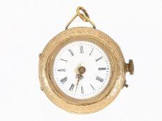 Taschenuhr/Anhängeuhr: goldene Damenuhr 1900Ca. Ø32mm, ca. 24g, 14K Gold, rückseitig prächtig