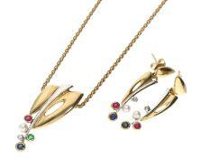 Kette/Collier/Ohrschmuck: dekoratives Mittelteil-Collier mit Perlen und Farbsteinen besetzt sowie