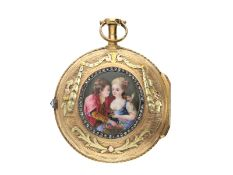 Taschenuhr: feine 3-farbige Gold/Emaille-Spindeluhr mit Steinbesatz und Emaillemalerei, L'Epine a