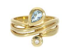 Ring: attraktiver vintage Brillant/Farbsteinring, Handarbeit, 14K, NP ca. 600€Ca. Ø17mm, RG54, ca.