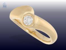 Ring: moderner Brillant/Solitär-Goldschmiedering, ca. 0,35ct, NP ca.1.200€Ca. Ø17mm, RG55, ca. 5,5g,