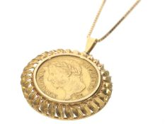 Kette/Anhänger: goldene Collierkette mit dekorativem Münzanhänger, 40 Francs, 1811, Napoleon