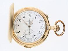 Taschenuhr: besonders große und schwere Goldsavonnette mit Repetition und Chronograph, Nestor SA /