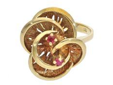 Ring: sehr schöner vintage Rubin-BlütenringCa. Ø17mm, RG54, ca. 6g, 14K Gold, vintage Handarbeit,