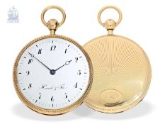 Taschenuhr: hochfeine, große Taschenuhr mit Repetition, 18K Gold, bedeutender Uhrmacher: Houriet &