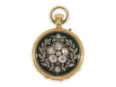 Taschenuhr: einzigartige und sehr kostbare Gold/Emaille-Savonnette, mit Diamantbesatz, gefertigt für