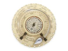 Sonnenuhr: Konvolut von 2 sehr seltenen Reisesonnenuhren mit Thermometer, Straight London und G.